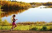 running by lake